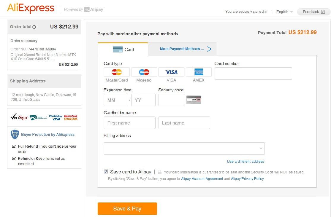 Aliexpress visa payment